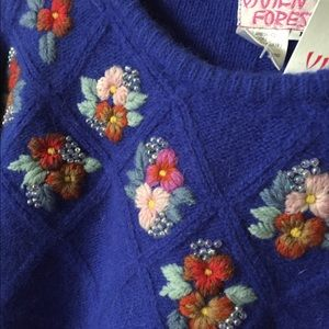 nwt vintage floral lambswool angora sweater